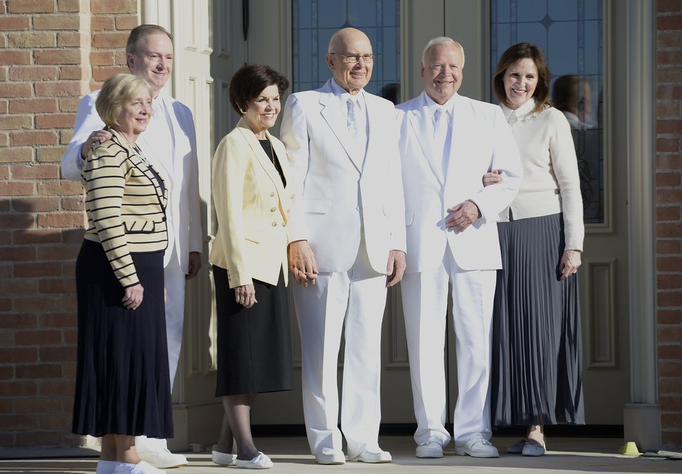 Leah Hogsten | The Salt Lake Tribune Elder Lynn G. Robbins, left, of the Seventy of The Church of Jesus Christ of Latter-day Saints is joined by his wife Jan, Dallin H. Oaks of Quorum of the Twelve Apostles and his wife, Kristen, and Elder Kent F. Richards of the Seventy and his wife, Marsha, at the Provo City Center Temple cornerstone ceremony. The Provo City Center Temple was dedicated Sunday, March 20, 2016.