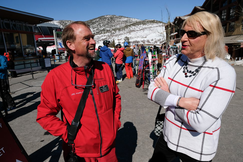 (Francisco Kjolseth | The Salt Lake Tribune) Joe Donnell, left, speaks with his colleague Cami Richardson, who came out as transgender at age 63, on Feb. 28 at Park City Mountain Resort.
