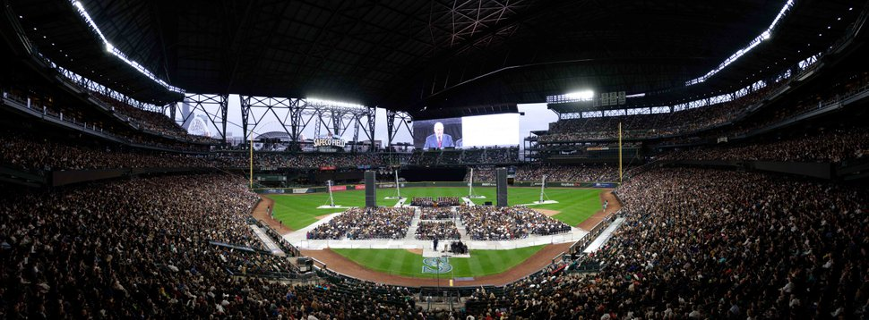 (Courtesy of The Church of Jesus Christ of Latter-day Saints) President Russell M. Nelson is on the giant screen at Safeco Field in Seattle. The president of The Church of Jesus Christ of Latter-day Saints spoke to members of the church, Saturday, Sept. 15, 2018.