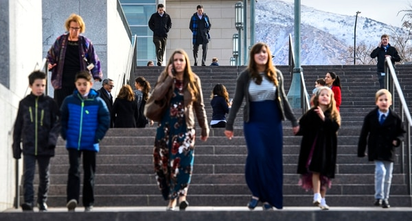 (Steve Griffin | The Salt Lake Tribune) Mourners leave the Conference Center after paying their last respects to LDS Church President Thomas S. Monson during a public viewing in Salt Lake City Thursday January 11, 2018.