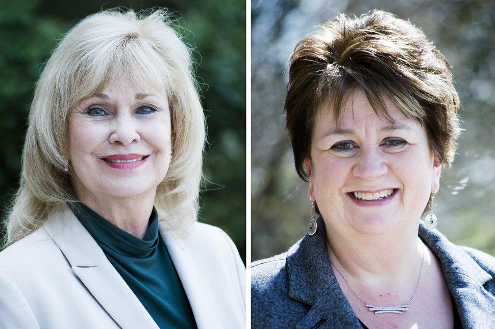 (Rick Egan | The Salt Lake Tribune) Sherrie Swensen (left) and Rozan Mitchell, who are running for Salt Lake County Clerk.