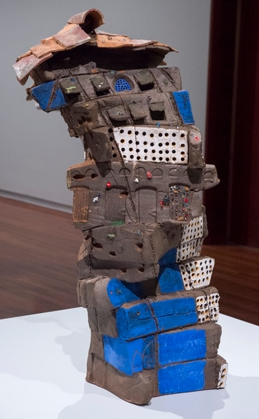 (Rick Egan | The Salt Lake Tribune) Brian Snapp sculpture House of My Brother/House of My Sister which is part of the new Site Lines, exhibit of 40 works from artists who also teach art at the University of Utah, at the Utah Museum of Fine Arts, Thursday, Sept. 27, 2018.