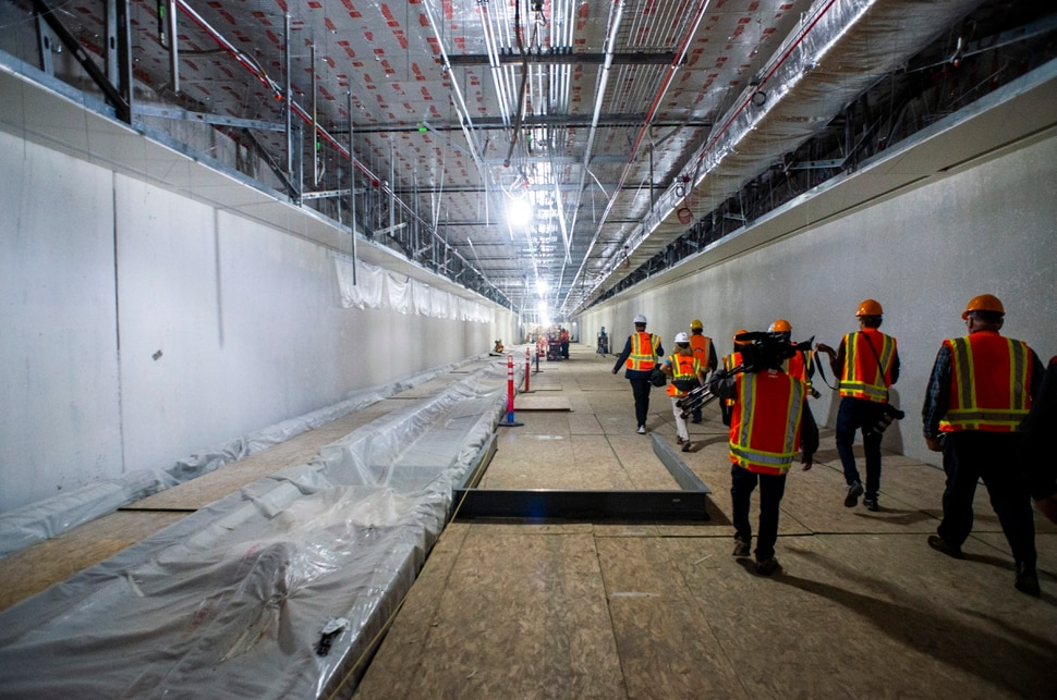 (Rick Egan | The Salt Lake Tribune) Tunnel to the North concourse. In less than a year the Salt Lake City Department of Airports will open the first phase of the new Salt Lake International Airport, Monday, Sept. 23, 2019.