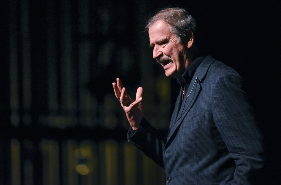 """(Francisco Kjolseth   The Salt Lake Tribune) Former Mexican President Vicente Fox speaks on """"Building Bridges: Fixing the Immigration Issue and Strengthening U.S.-Mexico Relations, as part of the World Leaders Lecture Forum at Kingsbury Hall on the University of Utah campus on Tuesday, Feb. 12, 2019."""