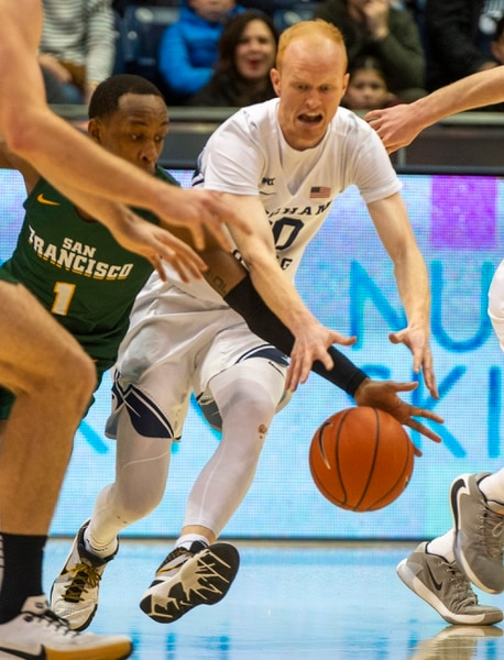 (Rick Egan | The Salt Lake Tribune) San Francisco Dons guard Jamaree Bouyea (1) has the ball picked off by Brigham Young Cougars guard TJ Haws (30), in West Coast Conference basketball acton between the Brigham Young Cougars and the San Francisco Dons, at the Marriott Center, Saturday, Feb. 8, 2020.