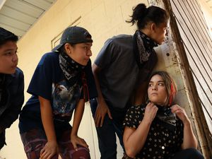 """(Shane Brown/FX) Lane Factor as Cheese, Paulina Alexis as Willie Jack, D'Pharaoh Woon-A-Tai as Bear, Devery Jacobs as Elora Danan Postoak in """"Reservation Dogs."""""""