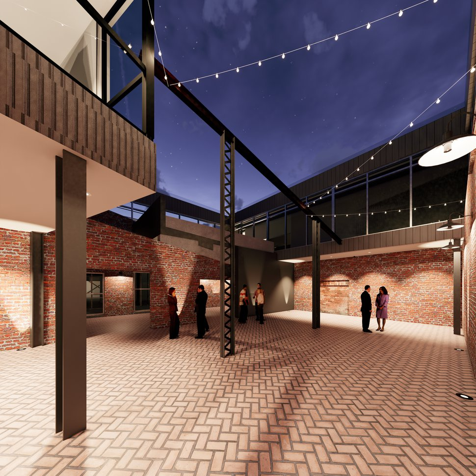 (Image courtesy of INDUSTRY) Rendering of an inner courtyard in new office spaces being built in Salt Lake City's Granary District by a company called Industry, founded by developers Ellen and Jason Winkler. They are overhauling the interior of a 1907-era foundry at about 500 West and 700 South, in what the Winklers say is just a first phase in converting the surrounding industrial area into a neighborhood.