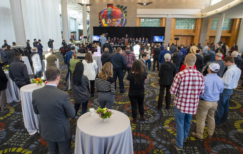 (Rick Egan | The Salt Lake Tribune) Guests attend the ground breaking ceremony for the new Hyatt Regency Salt Lake City Hotel, at the Salt Palace Convention Center, Friday, Jan. 10, 2020.