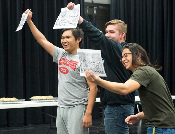 (Rick Egan | The Salt Lake Tribune) Granger High School students Alton Phonepraseuth, Bailey Beacham and Ivan Padilla, Ivan Padilla, perform during a competition in April for EduHam, an education program that accompanies the Salt Lake City run of
