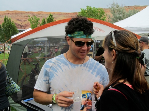 Nate Carlisle | The Salt Lake Tribune Eric Andrews holds a beer at the first Moab Beer Festival on May 24, 2014.