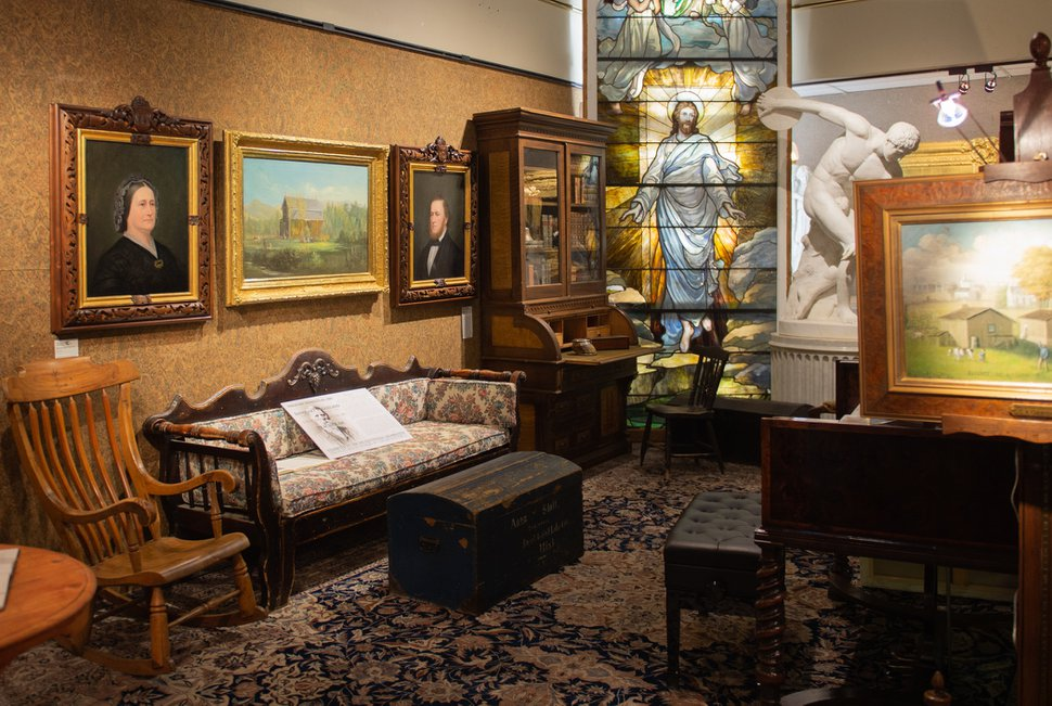 Strange Display Of Pioneer Era Furniture And Paintings Connects Home Interior And Landscaping Ologienasavecom