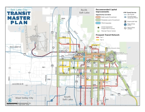 The Salt Lake City Council adopted a transit master plan on Dec. 5, 2017 that serves as a blueprint for expanding network through 2040. This map shows priorities for capital investments along various routes to improve speed, reliability and amenities for passenger comfort. Routes targeted for major investment are in green, secondary routes in red.