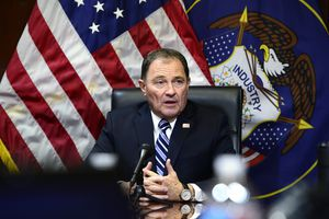 (Scott Sommerdorf   |  The Salt Lake Tribune) Utah Governor Gary Herbert spoke at his afternoon press conference about a wide ranging set of topics from health care to medical marijuana, and the current state of the legislature, Wednesday, February 17, 2016.
