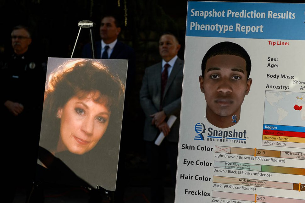 (Trent Nelson | The Salt Lake Tribune) A portrait of Sherry Black along with a DNA-based snapshot of a suspect in her murder, on display in 2017 at a news conference.