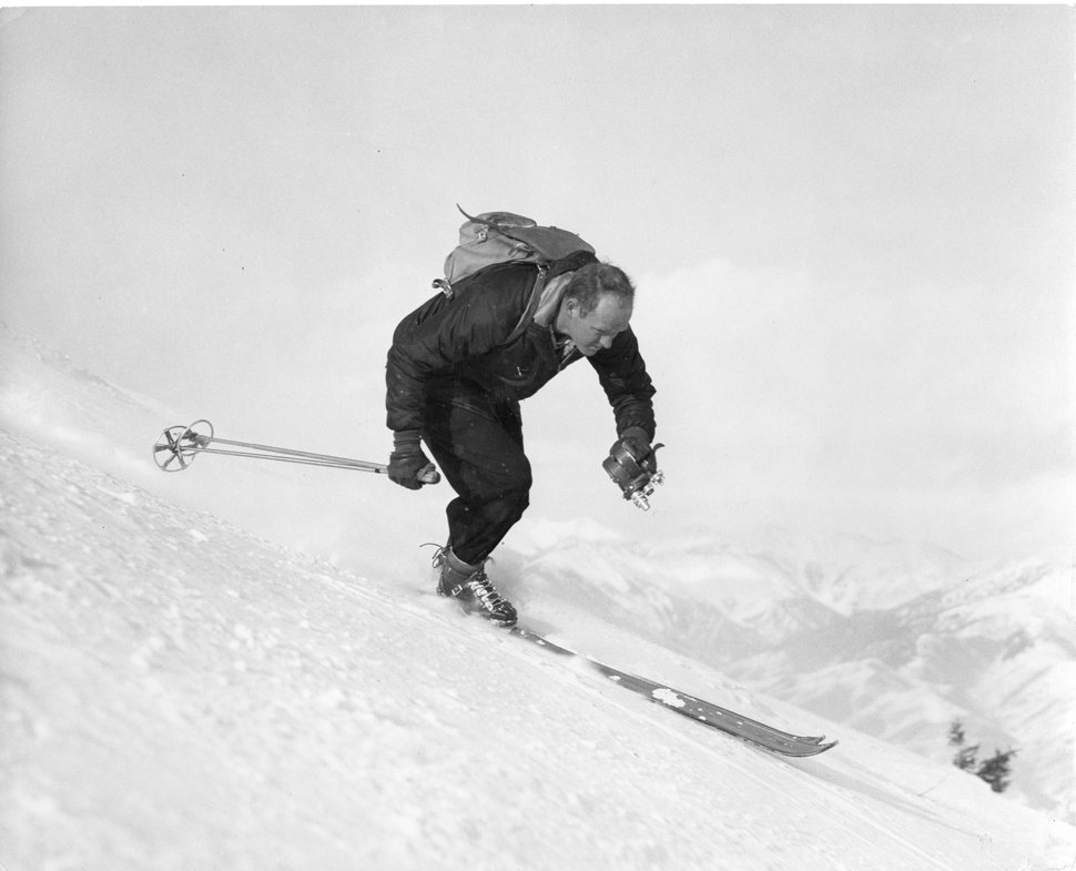 (Photo courtesy of Lorton Productions) Warren Miller, seen here in his early days of skiing and filming simultaneously, is the subject of the documentary