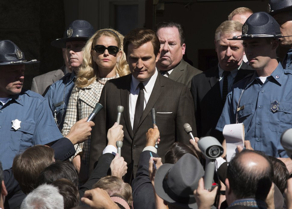 Jason Clarke as Ted Kennedy, center, and Andria Blackman as Joan Kennedy in a scene from