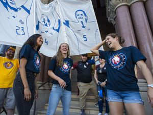 (Rick Egan  |  The Salt Lake Tribune)   Utah Royals FC players, Christen Press, Becky Sauerbrunn and Kelley O'Hara are honored by Salt Lake City, for their part in the US National Womens World Cup win, at the City and County Building, 