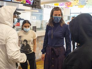 (Rick Egan | The Salt Lake Tribune) Salt Lake City Mayor Erin Mendenhall vists with customers at Santo Taco, after a news conference encouraging citizens to keep wearing masks, after the state mask mandate ends, Friday, March 19, 2021.
