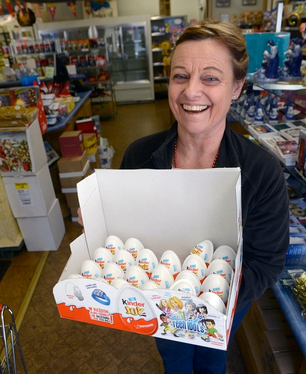 (Al Hartmann | The Salt Lake Tribune) Sharon Wuolukka, owner of the Dutch Store in Salt Lake City, holds a box of Kinder Joy eggs, a popular European treat is available for the first time in the U.S. this Christmas.