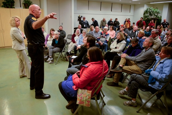 (Steve Griffin | The Salt Lake Tribune) Salt Lake City Mayor Jackie Biskupski and Salt Lake City Police Chief Mike Brown answer questions from Salt Lake City residents during the Liberty Wells Community Council meeting at the Tracy Aviary education room in Salt Lake City Wednesday November 8, 2017. Many of the questions were centered around Operation Rio Grande and the effects it is having on this area of the city.