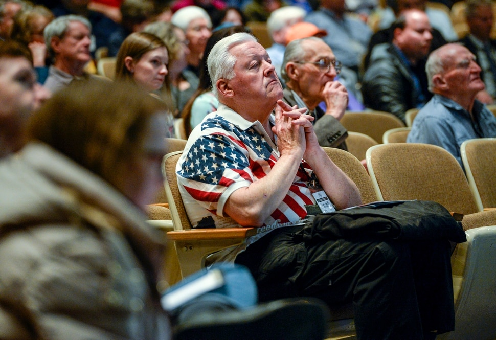 Leah Hogsten | The Salt Lake Tribune Ted Neff of South Jordan waits for voting results for the party secretary at the Salt Lake Republican Party organizing convention, April 13, 2019 at Cottonwood High School.