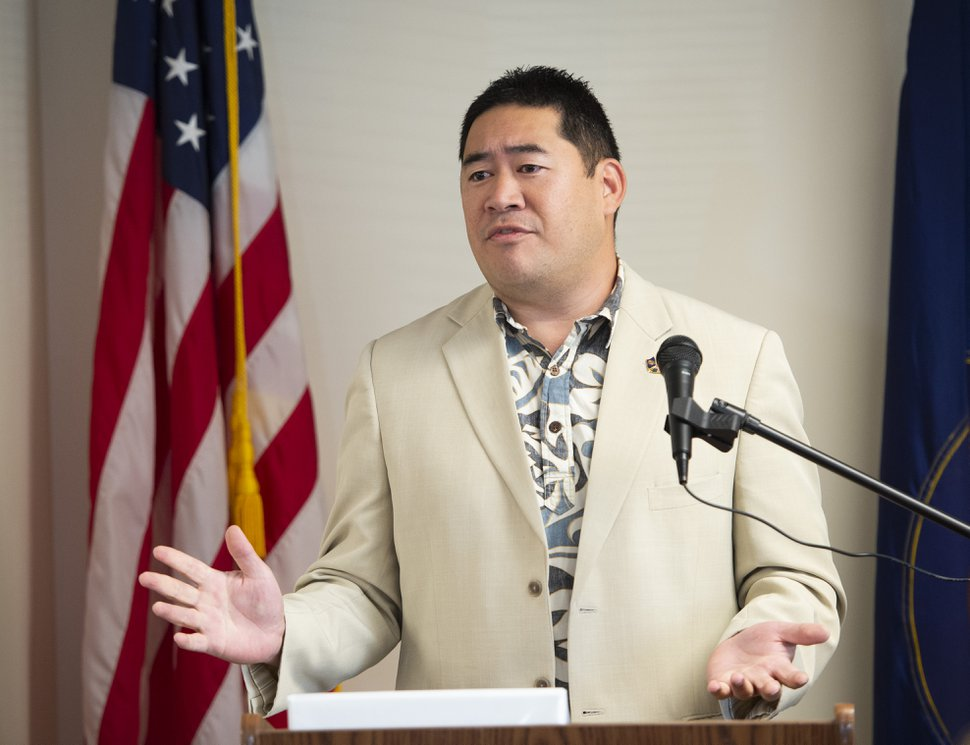 (Rick Egan | The Salt Lake Tribune) West Valley City Councilman Jake Fitisemanu says a few words at the grand opening the new Salt Lake City Area office for the U.S. Census Bureau, Tuesday, Oct. 1, 2019.