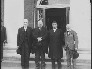 Robert C. Ogden, William Howard Taft, Booker T. Washington and Andrew Carnegie, left to right, stand on the steps of a building in April 1906 during the 25h anniversary celebration of what is now Tuskegee University in Tuskegee, Ala. Taft would later become president. The event was held at the same time a Southern heritage group, the United Daughters of the Confederacy, was raising money to erect a Confederate monument that was dedicated in 1909 and still stands at the center of the mostly black city. (Frances Benjamin Johnston/Library of Congress via AP)