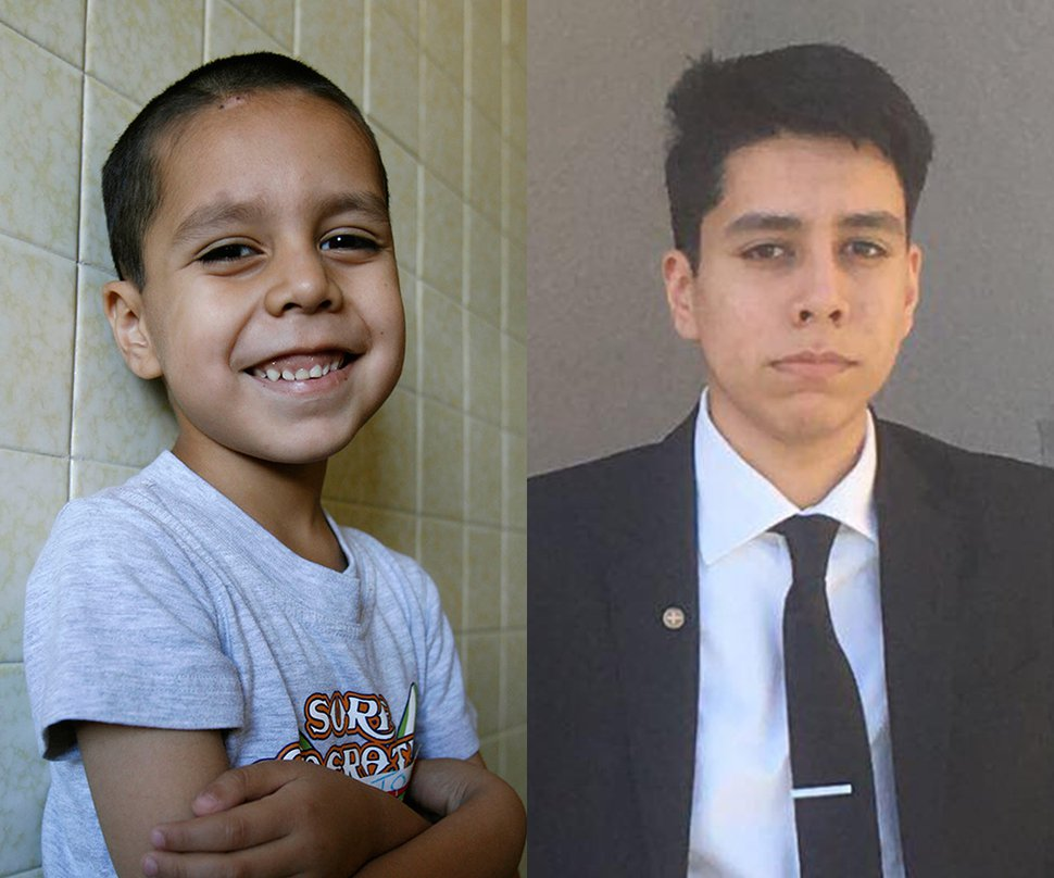 Anthoni Bustamante as a first grader at Orchard Elementary School in West Valley in 2007 and today.