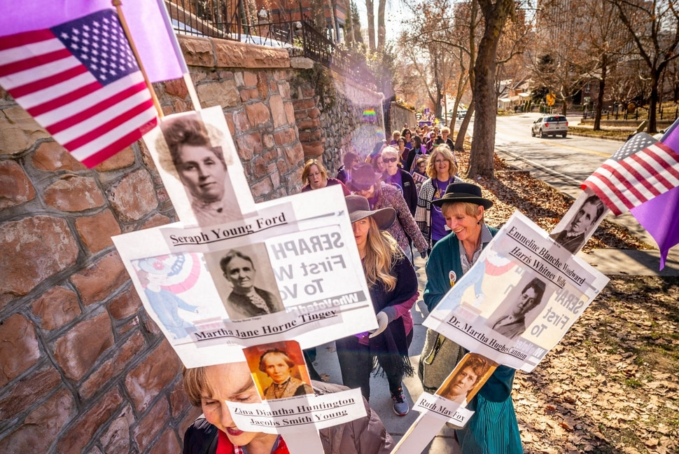 (Trent Nelson | The Salt Lake Tribune) A remembrance walk organized by Better Days 2020 in Salt Lake City on on Friday, Feb. 14, 2020 marks the 150th anniversary of Seraph Young casting her historical vote in Utah.