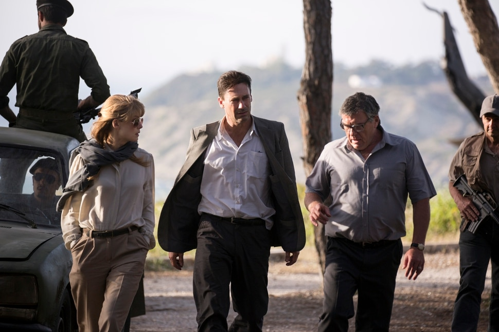 (Sife Eddine El Amine | courtesy Bleecker Street Films) Jon Hamm (center) plays a former diplomat brought back into action in director Brad Anderson's thriller Beirut. The movie co-stars Rosamund Pike (left) and Dean Norris (right). It will debut in the Premieres section of the 2018 Sundance Film Festival.