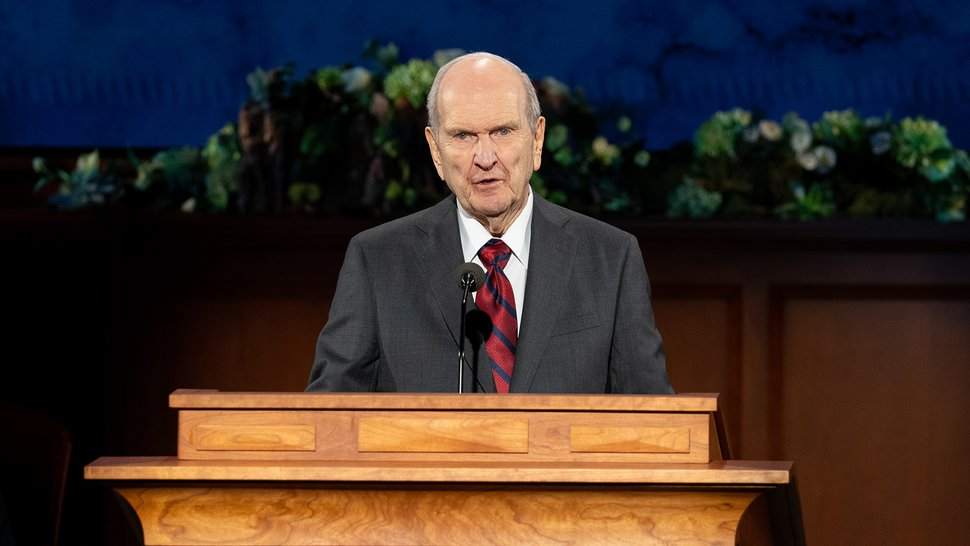 (photo courtesy The Church of Jesus Christ of Latter-day Saints) President Russell M. Nelson announces eight new temples during the Sunday afternoon session of General Conference on April 5, 2020.