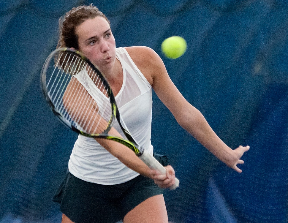 Michael Mangum | Special to the Tribune Rowland Hall's Katie Foley returns a shot during the Utah high school state tennis finals at the Salt Lake Tennis & Health Club in Salt Lake City on Saturday, September 30, 2017. Foley defeated Waterford's Sophie Christensen for the 3A 1st singles state championship.