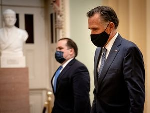 (Erin Schaff   The New York Times) Sen. Mitt Romney, R-Utah, departs after President Joe Biden's address to a joint session of Congress at the Capitol in Washington on Wednesday, April 28, 2021.