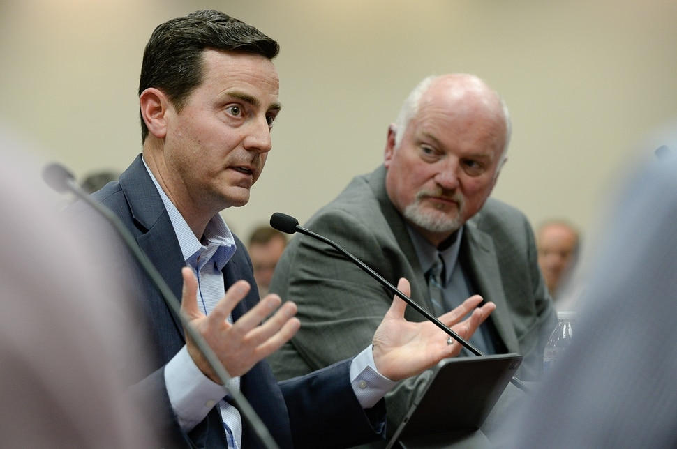 (Francisco Kjolseth | The Salt Lake Tribune) Mayor Trent Staggs of Riverton, left, and Mayor Derk Timothy of Bluffdale, go before the Salt Lake County City Council on Tuesday, Jan. 28, 2020, to express their opposition to Olympia Hills, a high-density development proposed outside of Herriman.