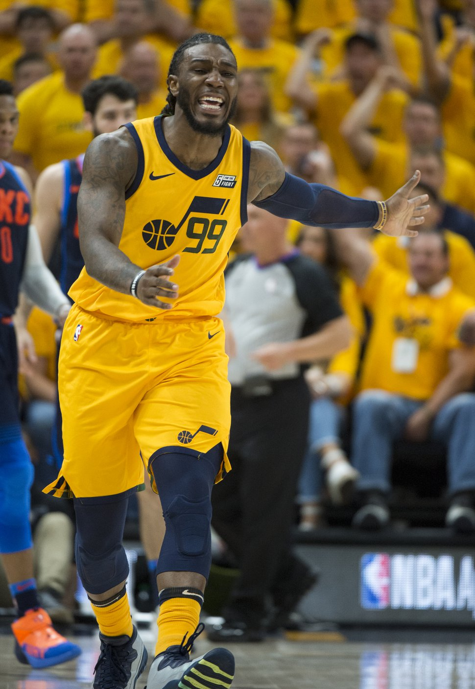 (Rick Egan | The Salt Lake Tribune) Utah Jazz forward Jae Crowder (99) reacts to a call by the official, in playoff action in game 6, between Utah Jazz and Oklahoma City Thunder in Salt Lake City, Friday, April 27, 2018.