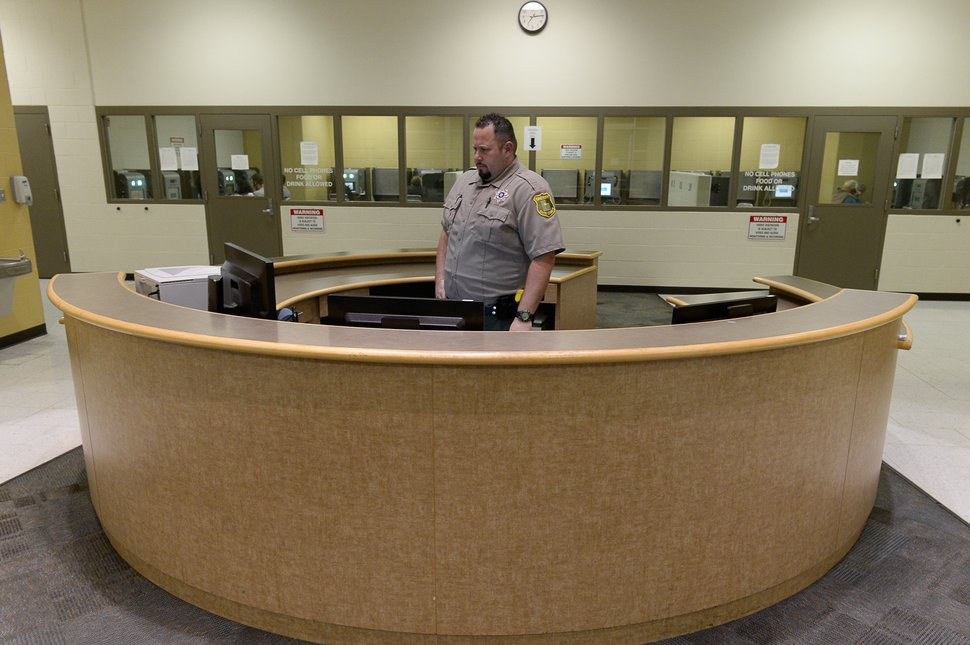 (Francisco Kjolseth | The Salt Lake Tribune) Deputy Jeff Baer monitors multiple video visitations at once at the Davis County Jail, looking for any prohibited behavior, at which point he would shut down the broadcast. Video visitation at county jails in Utah has become more commonplace. The Davis County jail, where people who come to visit their loved ones, up to twice a week on location, speak to them through a video monitor rather than a face-to-face or barrier visit. More than half of Utah's county jails now do video-only visitation, a practice that is concerning to advocates and upsetting to those who have family behind bars.