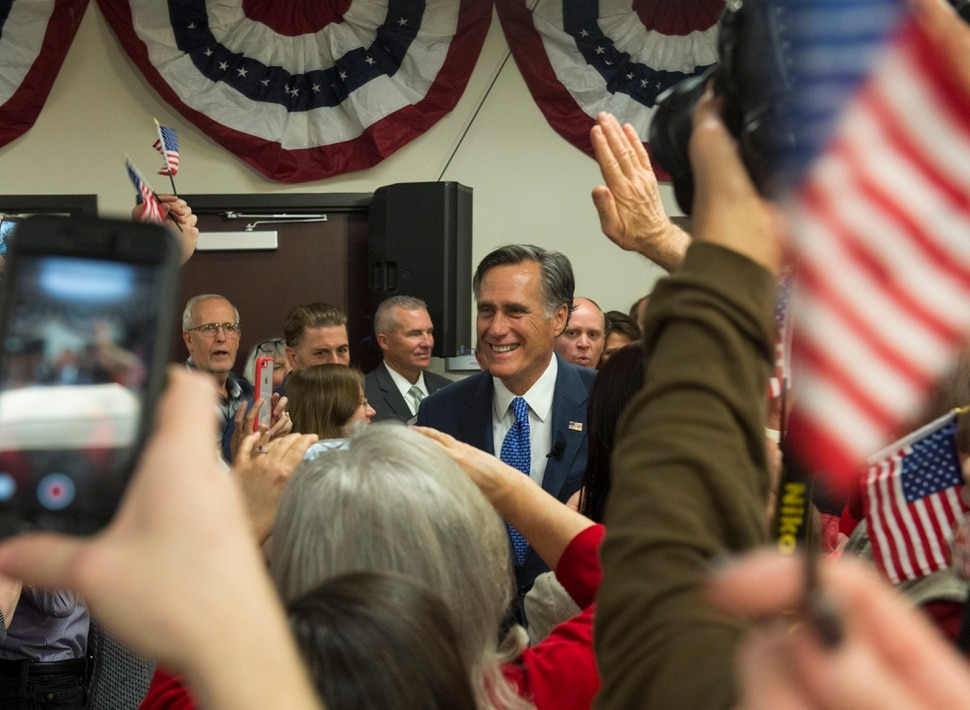(Rick Egan | The Salt Lake Tribune) Mitt Romney makes his way to the stage to give his victory speech, at the Romney Headquarters, in Orem, on election night, Tuesday, Nov. 6, 2018.