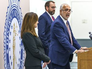 (Leah Hogsten | The Salt Lake Tribune) l-r Summit County Attorney Margaret Olson, Utah County Attorney David Leavitt and Salt Lake County District Attorney Sim Gill held a press conference to voice their support for abolishing the death penalty in Utah, Sept. 14, 2021.