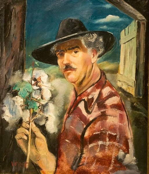 "(Rick Egan | The Salt Lake Tribune) Self-Portrait with Cotton, by Joseph Paul Vorst, in new exhibit titled: ""Joseph Paul Vorst: A Retrospective,"" which will run from November 9, 2017, through April 15, 2018, at the LDS Church History Museum. Thursday, November 9, 2017."
