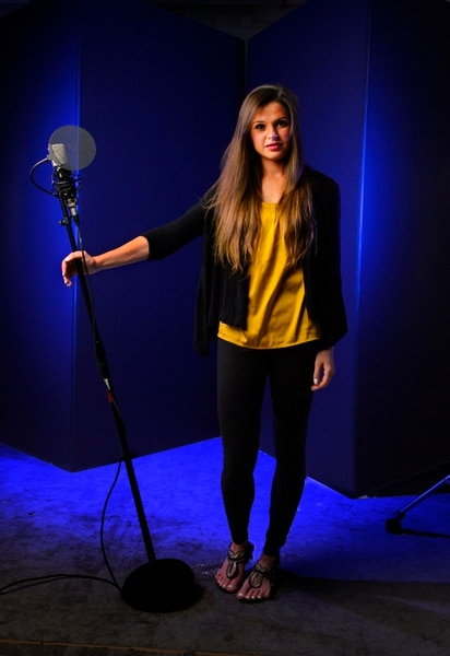 (Steve Griffin | The Salt Lake Tribune) BYU music student Nadia Khristean in the Salt Lake Tribune studio in Salt Lake City Wednesday August 2, 2017. Khristean performs songs and makes accompanying YouTube videos in partnership with local charities and cause-oriented organizations. She has made videos for such issues as refugee awareness, suicide prevention, homelessness, foster care and veterans affairs.