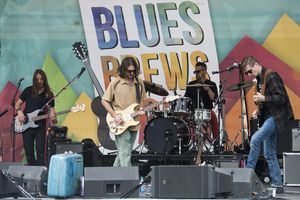 (Rick Egan  |  The Salt Lake Tribune)   The band Night Marcher performs, at the Blues, Brews & BBQ festival at Snowbasin resort,  Sunday, Sept. 23, 2018.