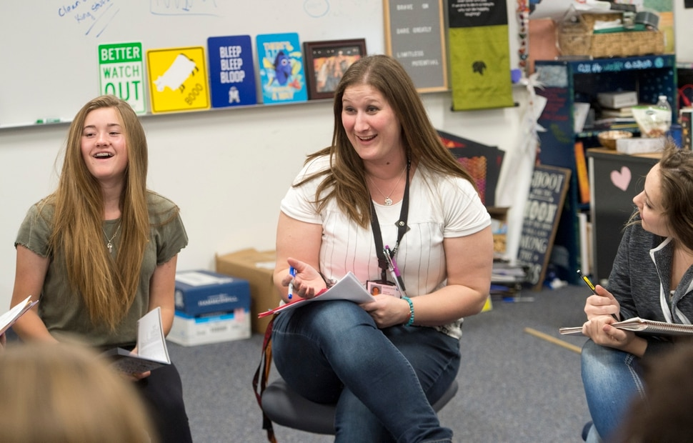 (Rick Egan | The Salt Lake Tribune) Kristie Wallace teaches drama at Elk Ridge Middle School in South Jordan, Thursday, April 26, 2018.