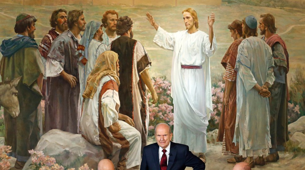 FILE - In this Jan. 16, 2018, file photo, President Russell M. Nelson looks on following a news conference in Salt Lake City. The president of the church is asking people to refrain from using
