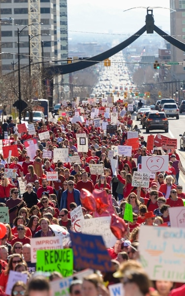 (Leah Hogsten | The Salt Lake Tribune) Teachers in Salt Lake City's teacher's union stage a walkout and rally at the Capitol to protest teacher pay in an effort to pressure the Utah State Legislature as it decides how much money it will allocate to the state's education system Friday. Teachers began the rally at the Federal Building and walked up Capitol Hill to the statehouse for a rally in the rotunda, Feb. 28, 2020.
