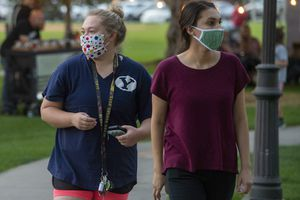 (Rick Egan  |  The Salt Lake Tribune)    Most of the visitors wore masks as they shopped the Farmers Market at Orem City Park, on Wednesday, Sept. 16, 2020.