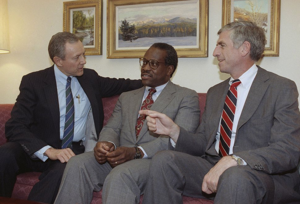 (John Duricka | AP Photo) Federal Judge Clarence Thomas, center, meets with Senators Orrin Hatch, R-Utah, left, and John Danforth, R-Missouri on Capitol Hill in Washington, Thursday, July 12, 1991. The post is subject to Senate confirmation.
