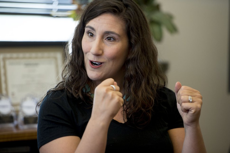 (Jeremy Harmon | The Salt Lake Tribune) Congressional candidate Shireen Ghorbani talks about issues central to her campaign during a meeting with The Salt Lake Tribune editorial board on Monday, Sept. 24, 2018.
