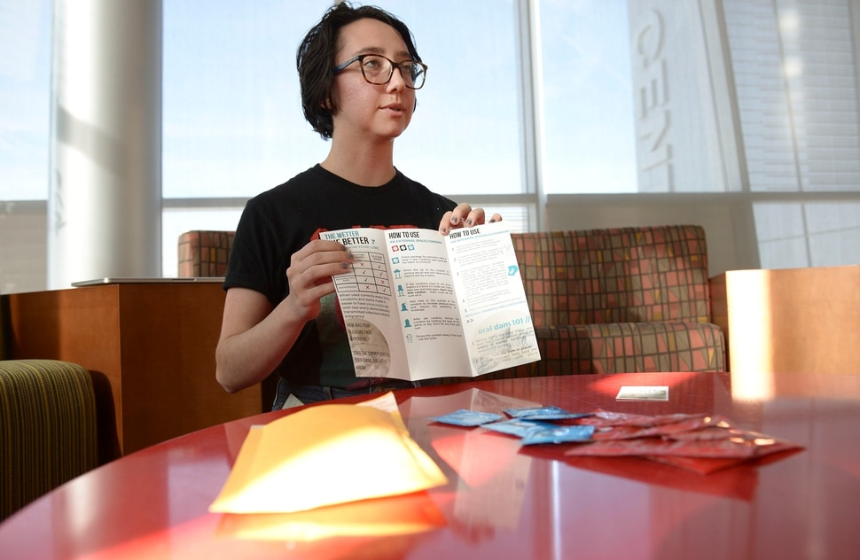 (Leah Hogsten | The Salt Lake Tribune) University of Utah student Grace Mason wants you to talk about sex. We hope to break down the stigmas, said Mason, Jan 15, 2020, who along with The Center for Student Wellness created The Pleasure Pack discreet delivery and pick-up service to increase access to safer sex supplies and increase sexual and reproductive health knowledge. University of Utah students can customize their Pleasure Pack with external or internal condoms, oral dams, and water or silicone-based lubricants.
