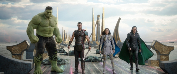 (Marvel Studios via AP) This image released by Marvel Studios shows the Hulk, from left, Chris Hemsworth as Thor, Tessa Thompson as Valkyrie and Tom Hiddleston as Loki in a scene from,