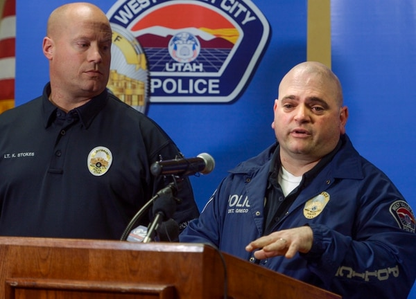 (Leah Hogsten | The Salt Lake Tribune) l-r West Valley City Police Lt. Kent Stokes and Detective David Greco give details regarding an arrest made, Thursday, March 8, 2018, in the 11-year-old homicide cold case of Tri Xuan Phan, who was last seen alive as he was closing the Vui Vui Billiards, 1893 West 3500 South, on January 10, 2007. Suspect Tien Nguyen was re-interviewed, arrested and charged with homicide Thursday after his fingerprint, newly added to the national database in connection with a more recent crime, was matched with a fingerprint left at Phan's murder scene.